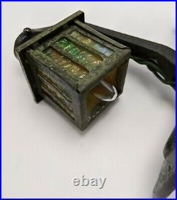 Antique Cast Iron Slag Glass Mission Arts and Crafts Night Light Miniature Lamp