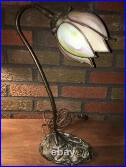 Antique Cast Iron Table Lamp with Handel Style Slag Glass Single Tulip Shade
