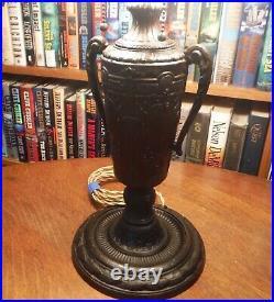 Antique Chicago Empire Co. Bent Slag Glass Lamp Miller Bradley & Hubbard Handel