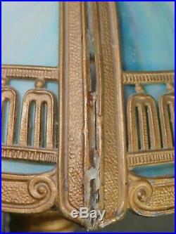 Antique Classical Adams Arts Crafts Slag Glass Bent Panel Lamp Original As Is