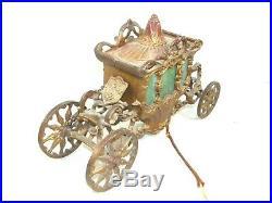 Antique Cold Painted Metal Slag Glass Cinderella Carriage Table Lamp Art Nouveau