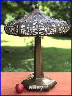 Antique Copper Slag Glass Table Lamp Camels Palms Limbert or Handel Some Issues