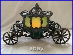 Antique Coronation Parlor Lamp Art Deco Horse Coach Slag Stained Glass Carriage