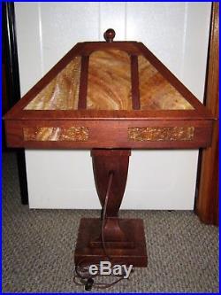 Antique Craftsman STICKLEY ERA Mission Arts & Crafts Tiger Oak Slag Glass Lamp