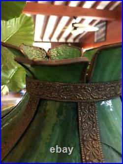 Antique Curved Slag Glass & Brass Filigree Shade Pendant Swag Light Lamp Nouveau