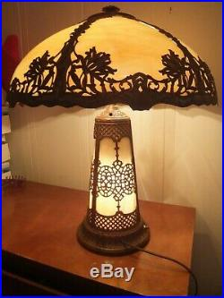 Antique Curved Slag Glass Table Lamp Base Lights Up 23 Tall 18 Diameter