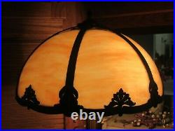 Antique Double Socket (6) Panel Caramel Slag Glass Lamp, Missing 1 Panel (Works)