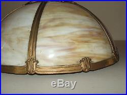 Antique Edward Miller Art Nouveau 6 Panel Caramel Slag Glass Table Lamp c. 1920