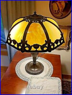 Antique Edwardian Art Nouveau 8 Curved Carmel slag art glass panel table lamp