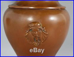 Antique Egyptian Revival Slag Glass Lamp Pharaoh Head & Poppy Flower, CC Co