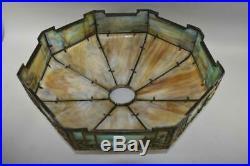 Antique Empire Lamp Co. Blue Bird Slag Panel Glass Shade 18