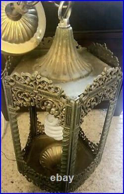 Antique English Tudor Gothic Exterior Porch Slag Glass Light Lamp Medieval