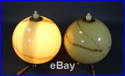 Antique German Bauhaus Art Deco Gild Marbled Slag Glass Ball Table Lamps pair
