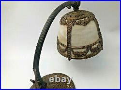 Antique Gooseneck Slag Glass Desk Lamp