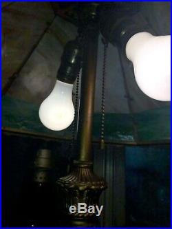 Antique Gorgeous Slag Glass Bronze Lamp Miller B&H
