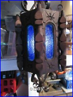 Antique Gothic Wood Cobalt Blue Slag Glass Light Fixture Vintage Hanging Lamp