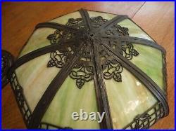 Antique Green Bent Slag Glass Bradley & Hubbard lamp Miller Handel Empire styles
