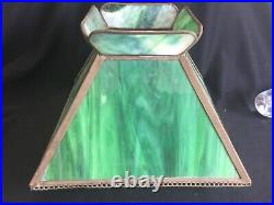 Antique Green Slag Stained Glass Lamp Shade Only Mission Oak Arts & Crafts Era