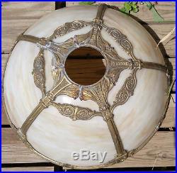 Antique H. A. Best Lamp Co. 2 Socket Gold 5 Panel Caramel Slag Glass Table Lamp
