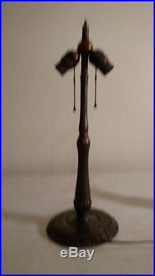 Antique Handel Lamp Base with Slag Glass Shade
