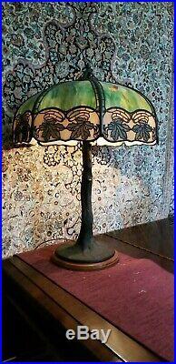 Antique Handel Leaded Slag Glass Table Lamp Tree Base Signed