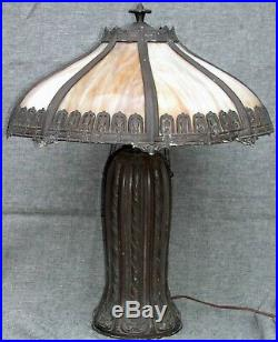 Antique Handel Style Slag Glass Lamp Patinated Tree Trunk Base Moulded Shade 18