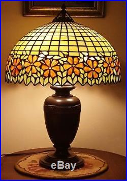 Antique Handel / Unique Arts & Crafts Leaded Slag Stained Glass Table Lamp