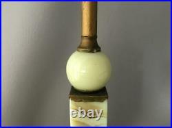 Antique Houze Brass & Vaseline Jadeite Uranium Slag Glass Akro Agate Table Lamp