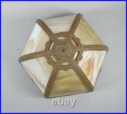 Antique Hubbard Slag Glass Table Lamp 6 Panel Signed Base Original Patina