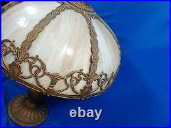 Antique Huge Art Nouveau 8 Panel Slag Glass Lamp Light Cast Metal Base Filigree