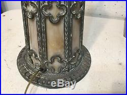 Antique Illuminated Slag Glass Lamp Base Unsigned Pittsburgh Miller Era
