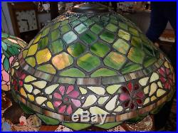 Antique Jefferson Table Lamp Signed + Mosaic Slag Glass Shade