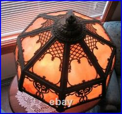 Antique LARGE Caramel Slag 22 Panel Glass Light House Lamp Top Bottom Lights