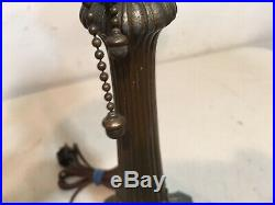 Antique Lamp Base For Slag Panel Glass Shade 2 Hubbell Acorn Pulls Cap Finial