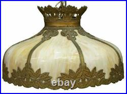 Antique Lamp, Hanging, Slag Glass, Chandelier, Foliated Frame, American