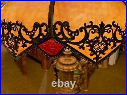 Antique Lamp Victorian Slag Glass, Black Marble, GWTW, Banquet, Large & Heavy