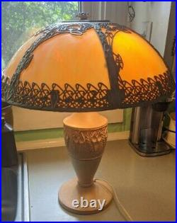 Antique Large Slag Stained Glass Filigree Lamp 6 Panel 19 Shade Art Deco Rare