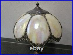 Antique Leaded Slag Glass Lamp Shade 8 Panel Large Two Nude Woman Base