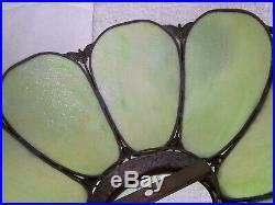 Antique Light Green Slag Glass Lamp Shade Bottom Diameter 18 5/8