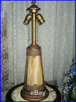 Antique Lighted Base Slag Glass 8 Panel Electric Table Lamp