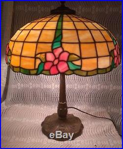 Antique MILLER Leaded lamp Handel Tiffany arts & crafts slag stained glass