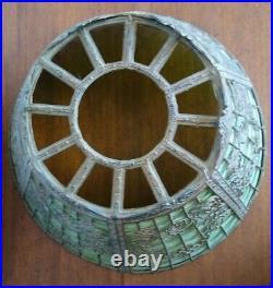 Antique MILLER ML Co. 236 Lamp Co. 6 Panel Green Slag Glass Table Lamp