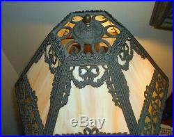 Antique MIller Lamp Co. 12 Piece Slag Glass PanelTable Lamp