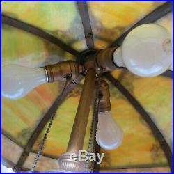 Antique Miller 16 Panel Slag Glass Lamp 3 Sockets Arts & Crafts B&H Handel Era
