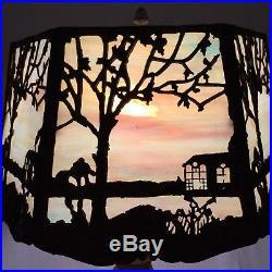 Antique Miller Art Nouveau Slag Lamp Sky House Tree Scene 6 Panel Metal Overlay