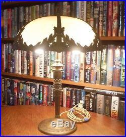 Antique Miller Bent Slag Glass Lamp Bradley & Hubbard Pittsburgh Empire Styles
