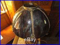 Antique Miller Brass and Green Slag Glass Lamp