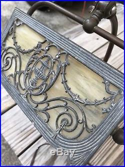 Antique Miller Bronze Piano Banker Student Desk Lamp Art Deco Slag Glass Shade