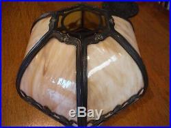 Antique Miller Co. Bent Slag Glass Lamp Bradley & Hubbard Handel Empire styles