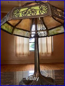 Antique Miller Co Bronzed Metal Art Nouveau Lily Pad Panel Slag Glass Table Lamp